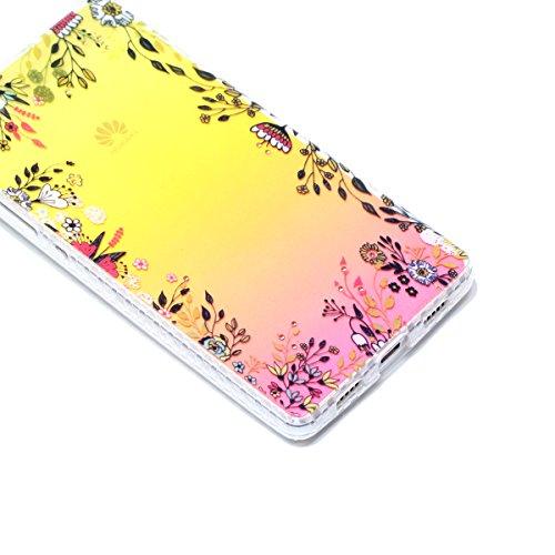 Funda Huawei P8 lite,SainCat Moda Alta Calidad suave de TPU Silicona Diseño pintado Patrón para Funda TPU Silicona Flexible Ultra Delgado Ligero Goma Case Cover Caja Suave Gel Shock Absorción Anti Ras Flores