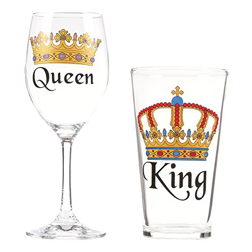 King Beer and Queen Wine Glass Set – Pair of Drinking Glasses with Crown Prints for Couples, Ideal for Wedding, Engagement, Anniversary, Housewarming Present