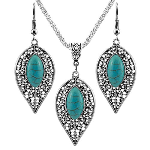 Nobio Women Girl's Retro Vintage Design Turquoise Necklace Hook Earrings Set Fashion Jewelry