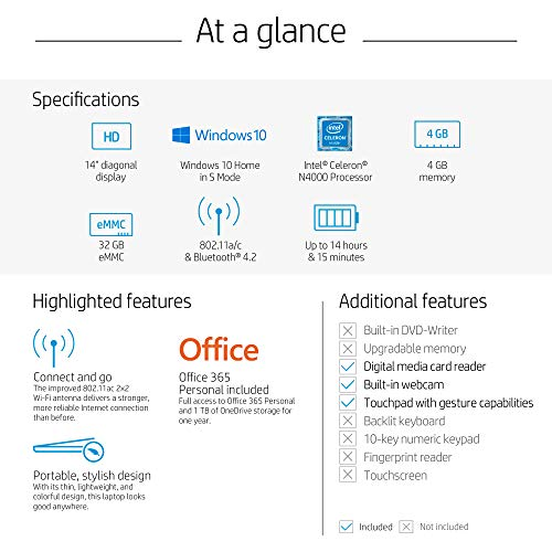 HP Stream 14-inch Laptop, Intel Celeron N4000, 4 GB RAM, 32 GB eMMC, Windows 10 Home in S Mode with Office 365 Personal for 1 Year (14-cb184nr, Rose Pink)