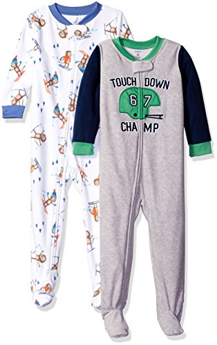 Carter's Baby Boys' Toddler 2-Pack Fleece Pajamas, Monkey/Sports, 3T
