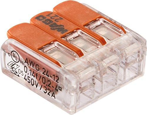 WAGO 221-413/996-012 Compact-Verbindungsklemme, Transparent (12-er Pack)