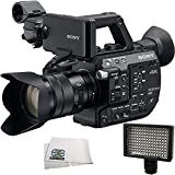 Sony PXW-FS5 XDCAM Super 35 Camera System with Sony E PZ 18-105mm f/4 G OSS Lens + 160 LED Video Light + Microfiber Cleaning Cloth
