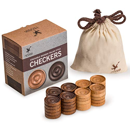 Husaria Wooden Checkers, Italian Style Checker Pieces with Stackable Ridges and Drawstring Pouch, 20 Pieces of Each Color