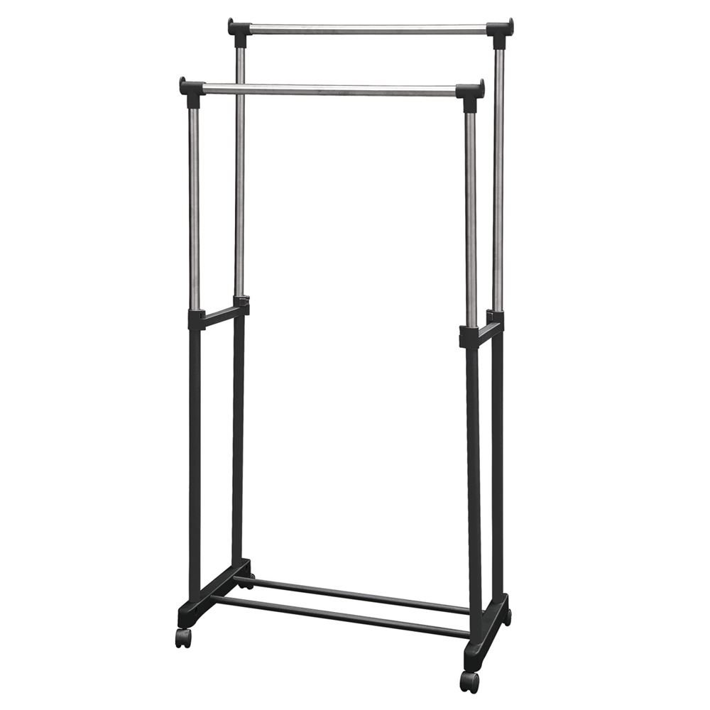 Hyfive Portable Double Clothes Rail On Wheels with Shoe Shelf and Adjustable height 80 x 42 x 160cm