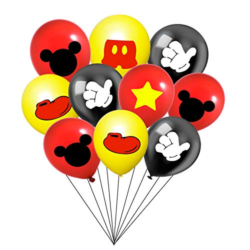 30PCS Mickey Mouse Party Balloons 12 Inch Double-sided pattern Latex Balloons Red Black Yellow Balloons for Kids Birthday Party Supplies
