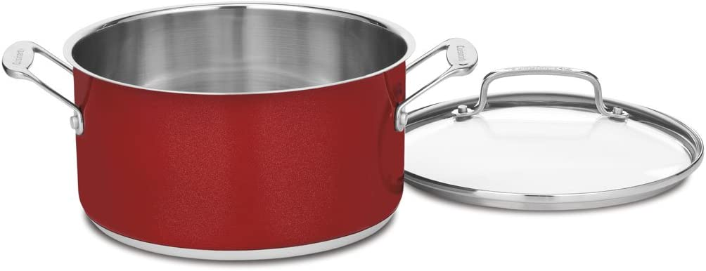 Metallic Red Cuisinart CS33-30HMR Chefs Classic Stainless 5-Quart Saute Pan with Helper Handle and Cover
