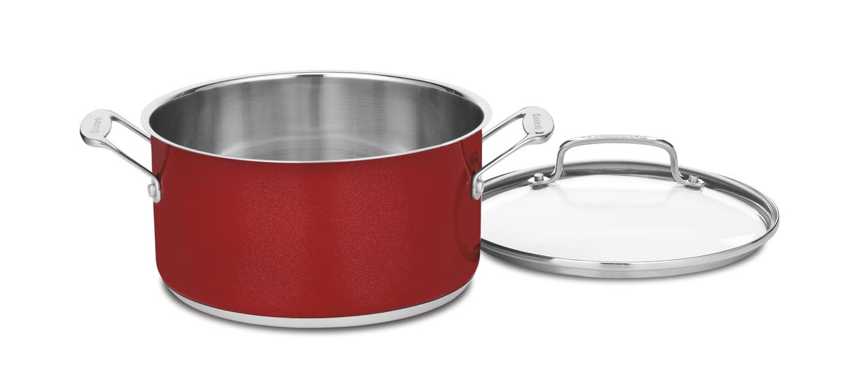 Cuisinart CS19-16MR Chefs Classic Stainless 1-1//2-Quart Saucepan with Cover Metallic Red