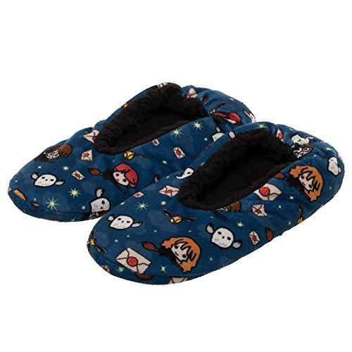 HARRY POTTER Chibi All Over Print Character Soft Slippers (L/XL, Blue) from HARRY POTTER