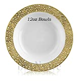 buyNsave White with Gold Heavyweight Plastic Elegant Disposable Plates, Wedding Party Elegant Dinnerware, Inspiration Collection (40, 12oz. Soup Bowls)