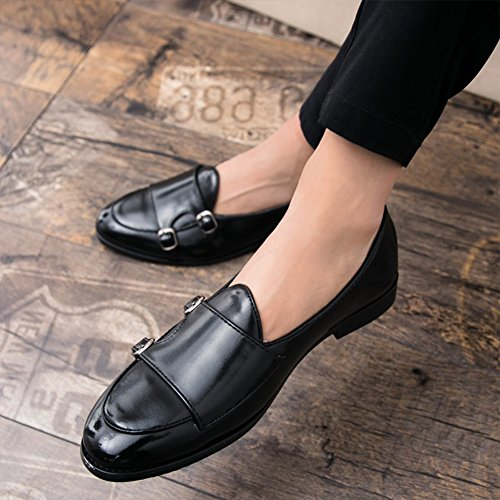 Black Smoking Metallic Monk Shoes SYH Party on Slip Loafers Men's Dress Strap Casual 6nUf7a