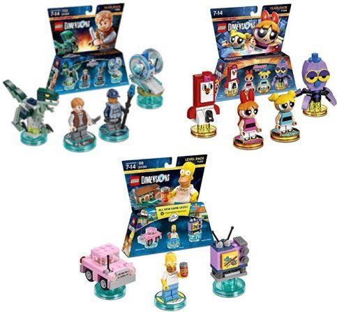 Lego Dimensions Pack Bundle of (3) - Jurassic World Team Pack (71205), The Powerpuff Girls Team Pack (71346), Simpsons Level Pack (71202),