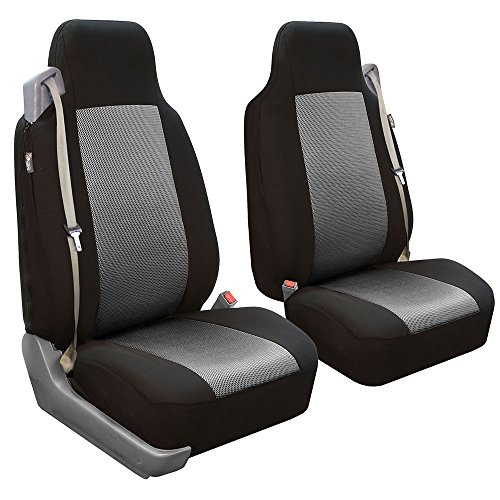 Gray Headrest (FH GROUP FH-FB302102 All Purpose Flat Cloth Built-in-Seat Belts Car Seat Covers for Non-detachable headrests, Gray / Black Color- Fit Most Car, Truck, Suv, or Van)