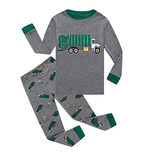 AutumnFall 2018 New Kids Pajamas Children Sleepwear Cartoon Pijamas for 18M-7Y Girls Boys Nightwear Cars Dinosaur Shark Pjs (Ages:5-6 Years, Gray)