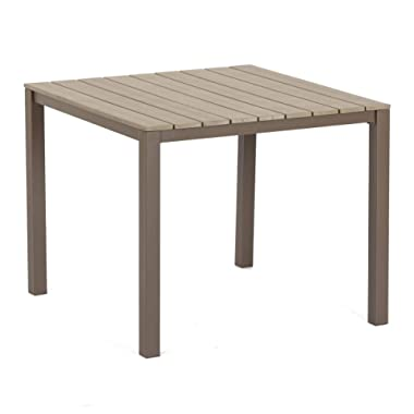 SUNCROWN Outdoor Steel Imitation Wood Square Dining Table All Weather Steel Powder Coated Frame | Patio, Backyard, Pool
