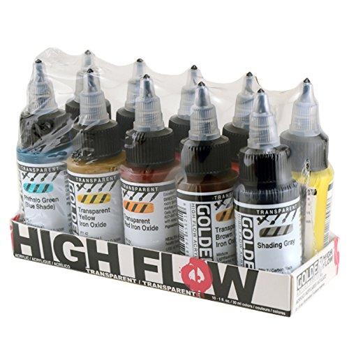 Golden 0000954-0 High Flow Acrylic 10-Color Transparent Set,Multicolor (Acrylic Fluid Paint)