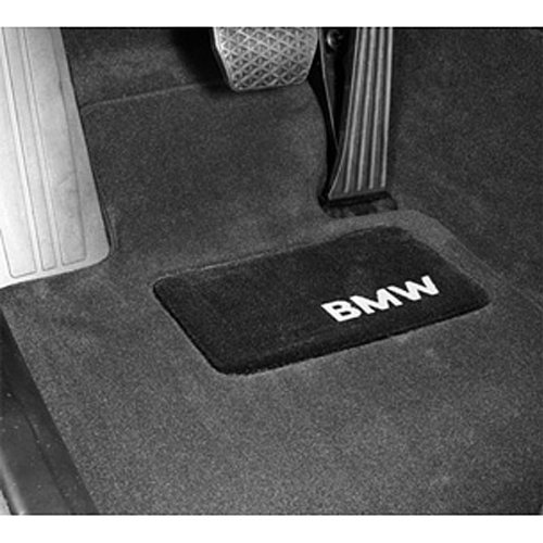 BMW 5 Series Carpeted Floor Mats with BMW Lettering Heel Pad - Black. Fits 2004-10 Year Models.