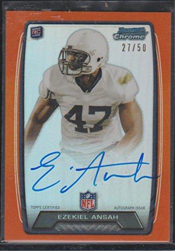 2013 Topps Chrome Refractor Ezekiel Ansah Lions 27/50 Autographed Rookie Football Card #RCRA-EA ()
