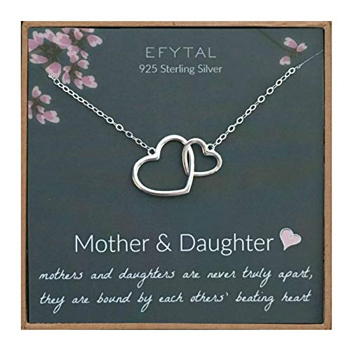 EFYTAL Mothers Day Mom Gifts, 925 Sterling Silver 2 Interlocking Hearts Necklace for Mother & Daughter, Mom Necklaces for Women, Best Birthday Gift Ideas, Pendant Mother's Day Jewelry For Her