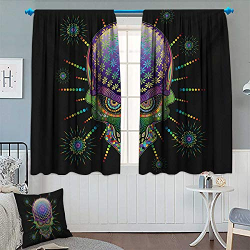 Anhounine Psychedelic,Blackout Curtain,Digital Mexican Sugar Skull Festive Ceremony