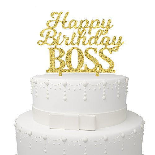 Happy Birthday BOSS Cake Topper - Office Party Adult Birthday Party Supplies Decorations Gold Glitter by AZIWEI