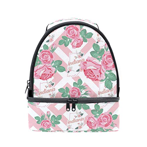 Lunch Bag Indiana Flower Insulated Dual Compartment Lunch Bag Lunch Box for School Picnic - Indiana Classic Pique