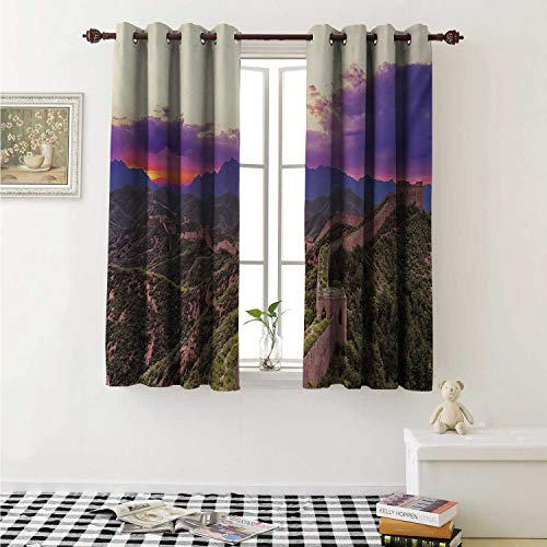 shenglv Great Wall of China Customized Curtains Surreal Cloudscape in Fantasy Tones East Heritage Tourism Exotic Art Curtains for Kitchen Windows W63 x L45 Inch Violet Green