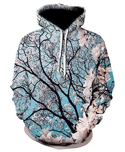 Men Hipster Cherry Blossoms Hoodie Unisex Pullovers Sweatshirt Streetwear ()