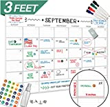 Large Dry Erase Wall Calendar - 24'' x 36'' - 2018 Jumbo Monthly Task Organizer - Giant Erasable Oversized Planner for Home Office Business Classroom Dorm Room - Giant & Undated Deadline Task Planner