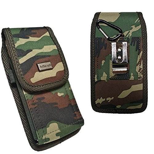 Asus ZenFone V ~ Rugged Camoflauge Pattern Nylon Pouch Carrying Case with Metal Fixed Belt Loop Clip Holster+Carabiner Ring Hook{ Fits Phone with protective skin cover or naked phone} (Camo)
