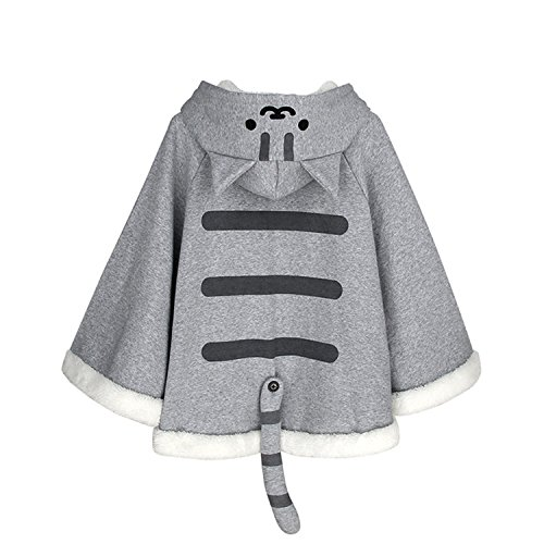 CORIRESHA Gray Cute Catpaw Print Soft Fleece Outwear Chis Sweet Home Cat Cape with Cat Ears