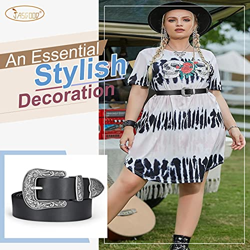 Women Plus Size Leather Belt Ladies Western Vintage Style Belt for Pants Jeans Dress