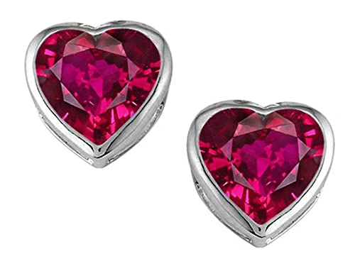 Star K Sterling Silver Heart Shape 7mm Heart Earring Studs