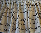 Valance Black French Script Writing on Off-White Cream Background Window Treatment Topper Custom Made For Sale