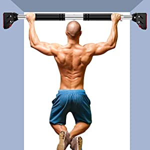 Pull up Bar for Doorway, Door Pull Up Bar Chin Up Bar High Density Foam Grip Strength Training Pull-up Bars Iron Gym/Home Workout Equipment for Men,Easy-to-Install Exercise/Workout Bar(Black)