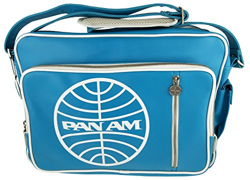 Pan Am Men's Secret Agent Satchel Cross Body Messenger Lap Top Bag (Pan Am Flight Blue) (Am Messenger)