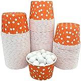 Bulk Candy Nut Mini Baking Paper Treat Cups - Orange and White Polka Dot - 100 Pack