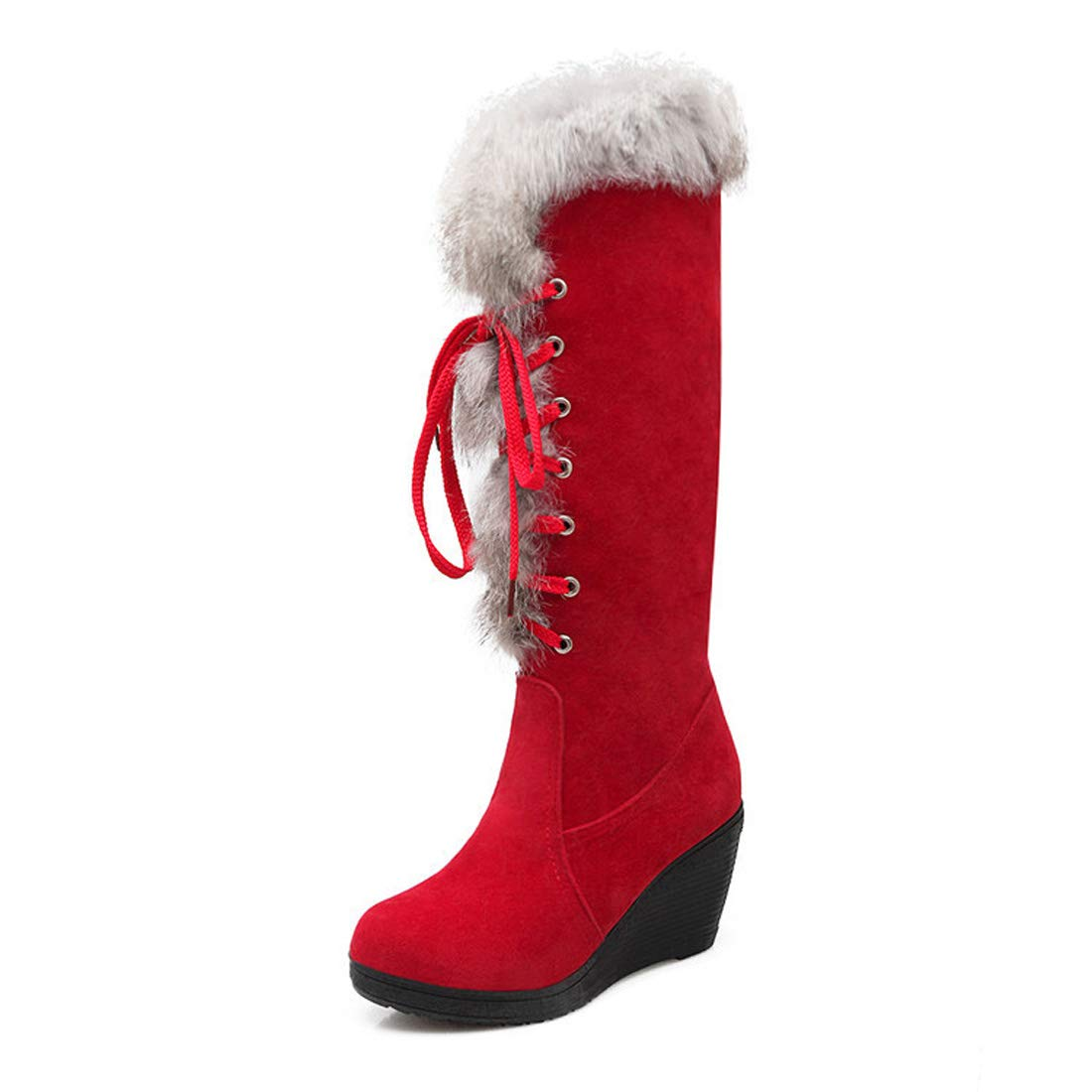 DANDANJIE Damen Kniehohe Stiefel Keilabsatz Fashion Lace-up Fashion Keilabsatz Stiefel Schuhe für 2018 Herbst Winter d1c25e