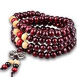 JAJAFOOK 6MM Sandalwood Bracelet Link Wrist Tibetan 108 Beads Prayer Buddha Mala Chinese Knot Elastic