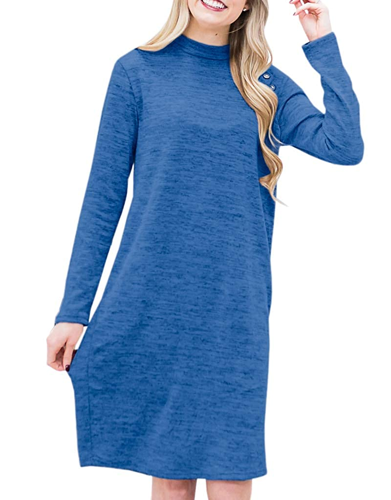 bluee Ivay Women's Spring Long Sleeve Dresses Button Deco Plain Loose TShirt Dress