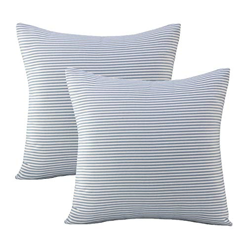 Xing Ji Pack of 2 Stripe Pillow Covers,18x18 inches Blue Ticking Square Farmhouse Throw Pillow Covers Set for Home Sofa Decorative (Light Blue)