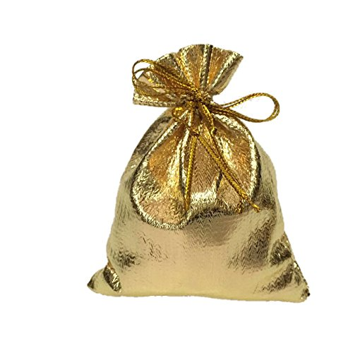 20 PCS 5x7CM Organza Bag Little Gift Bag Drawstring Jewelry Small GiftBags Sheer Gauze Favors Party Christmas/Wedding Satin Pouches packaging (Gold 5x7CM)