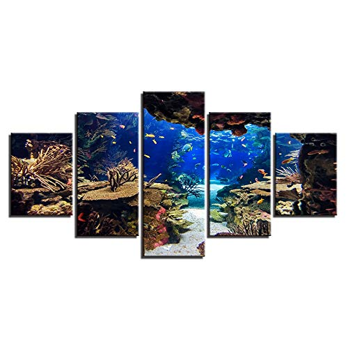 GYIHKLBS 5 Pieces Painting Canvas Wall Art Pictures Framework Home Decor Room 5 Pieces Underwater Sea Fish Coral Reefs Paintings HD Prints Seascape Posters,No Frame,20x35 20x45 20x55cm