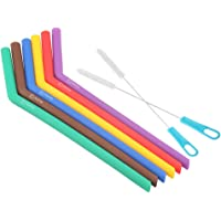 WOVTE Reusable Silicone Straws with Cleaning Brush for 20 30 Ounce YETI and RTIC Tumblers, Smoothies & Milkshakes, Dishwasher Safe, Safe For Kids Pack of 6