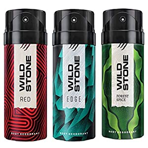 Wild Stone Edge, Forest Spice and Red Deodorant For Men 150 ML Each (Pack Of 3)