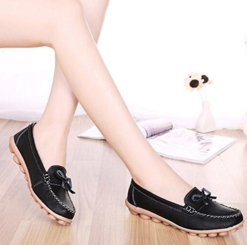 Summerwhisper Womens Doux Bowknot Slip-on Conduite Bateau Chaussures Flats Mocassins En Cuir Noir