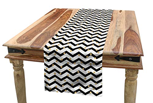 Lunarable Chevron Table Runner, Zig Zag Symmetric Pattern with Golden Yellow Polka Dots Modern Minimalist Design, Dining Room Kitchen Rectangular Runner, 16 W X 72 L Inches, Black White ()