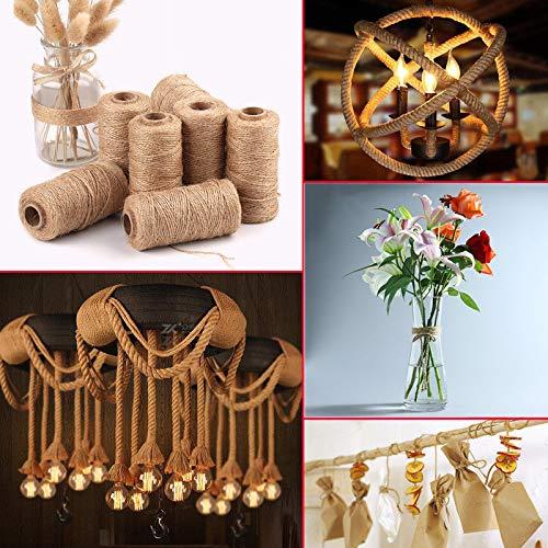 Gotian 100m 1 Roll of Rope Handmade Hemp Linen Cords Burlap Twine Rope String DIY Craft Home Party ()