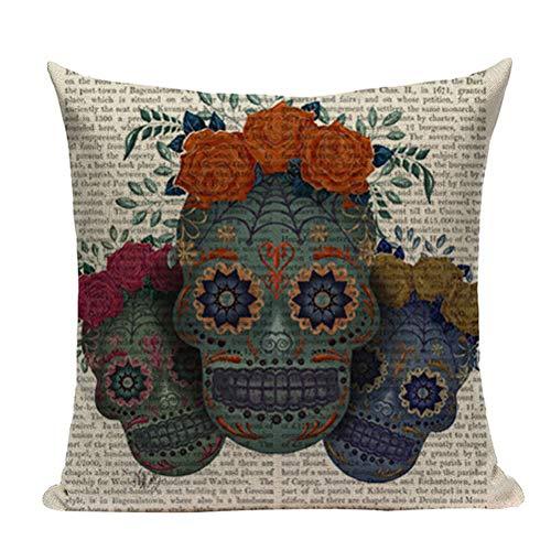 Nunubee Happy Halloween Decorative Throw Pillow Cover Linen Cushion Cover 18x18 Inch - Skull f