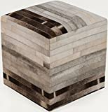 Surya Animal Inspirations Square pouf/ottoman 18''x18''x18'' in Neutral, Gray Color From Surya Poufs Collection